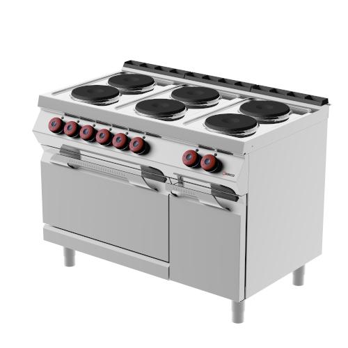 Cucina Elettrica 6 Piastre Tonde Con Forno Elettrico E Armadietto